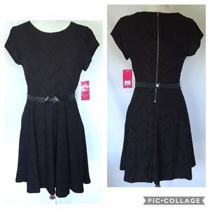 Black CANDIE'S Fit 'n Flair Belted Dress, Large